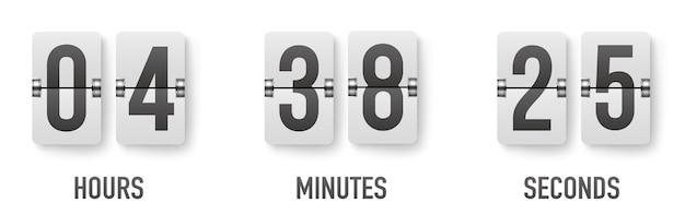 Realistischer flip-countdown-taktzähler-timer. flat countdown tag.