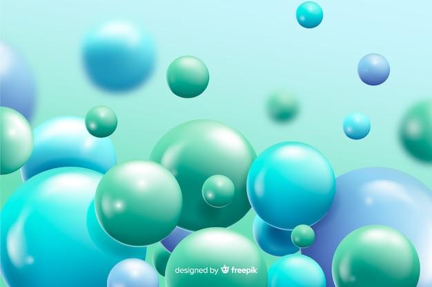 Realistischer flüssiger hintergrund der blauen bälle