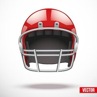 Realistischer footballhelm. sportillustration. ausrüstung zum schutz des spielers. auf hintergrund.