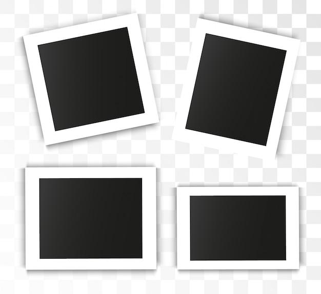 Realistischer fotorahmen auf transparentem hintergrund. satz foto