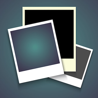 Realistischer fotorahmen mit schatten, leerer leerer fotografie-schnappschuss