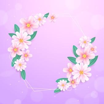 Realistischer frühlingsblumenrahmen
