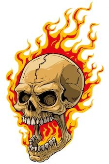 Realistischer furchtsamer menschlicher schädel der karikatur auf feuer