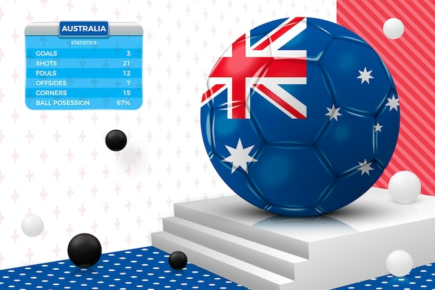 Realistischer fußballball 3d mit australien-flagge, anzeigetafel, lokalisiert in der eckwand