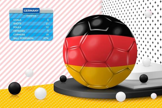 Realistischer fußballball 3d mit deutschland-flagge, anzeigetafel, lokalisiert in der eckwand