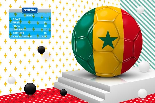 Realistischer fußballball 3d mit senegalesischer flagge, anzeigetafel, lokalisiert in der eckwand
