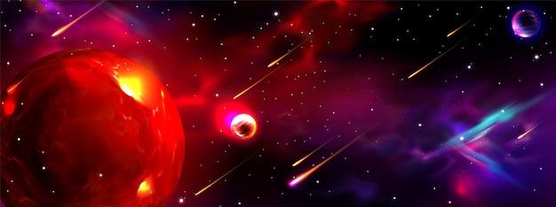 Realistischer galaxiehintergrund mit planeten
