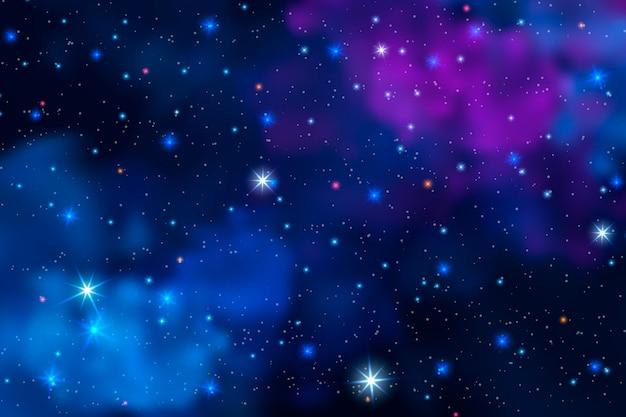 Realistischer galaxienhintergrund mit wolken