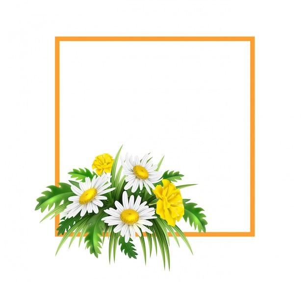 Realistischer gelber diasy kornblumen eleganter blumenstrauß im orange rahmen