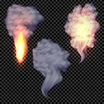 Realistischer gesetzter vektor des rauches und des feuers auf transparentem hintergrund, spezialeffekte.