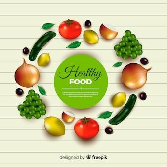 Realistischer gesunder nahrungsmittelhintergrund