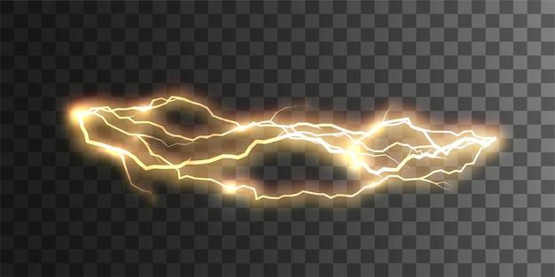Realistischer glänzender blitz oder elektrischer blitz lokalisiert auf kariertem transparentem hintergrund. optischer effekt der elektrischen entladung