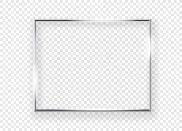 Realistischer glänzender metallbilderrahmen an einer wand. horizontaler rahmen der vektorillustration lokalisiert auf transparentem hintergrund