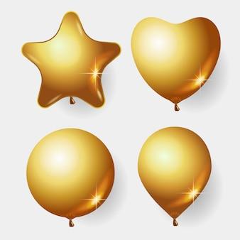 Realistischer glatter goldener ballon, liebesballon, sternballon. luftballons zum geburtstag, zu festlichen anlässen, partys, hochzeiten.