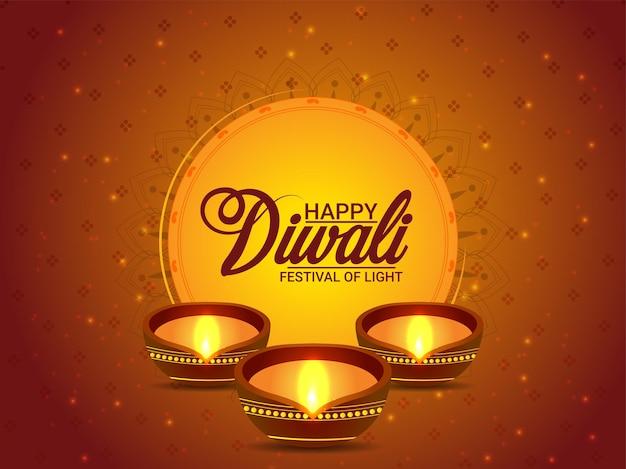 Realistischer glücklicher diwali-feierhintergrund mit diwali diya