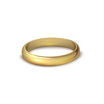 Realistischer goldener ehering lokalisiert auf weißem hintergrundsymbol der liebe und der ehe. realistisches hochzeitsdesign. vektor-illustration isoliert auf weißem hintergrund