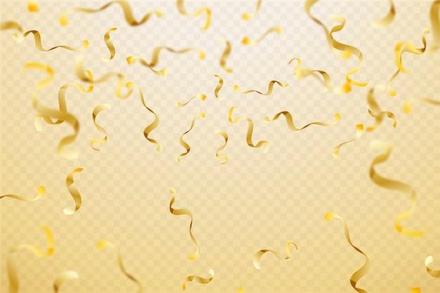 Realistischer goldener konfetti-hintergrund