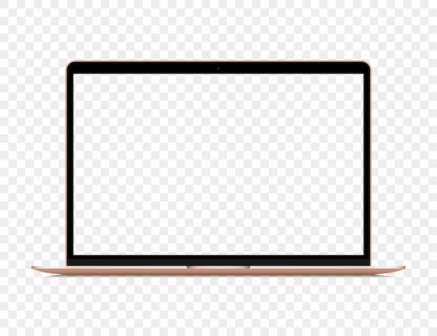 Realistischer goldener laptop mit leerem bildschirm auf transparentem