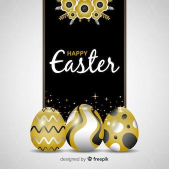 Realistischer goldener ostereiertaghintergrund der eier