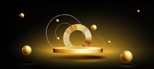 Realistischer goldener podiumshintergrund Kostenlosen Vektoren