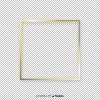 Realistischer goldener rahmen auf transparentem hintergrund