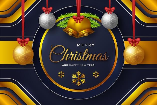 Realistischer goldener weihnachtshintergrund