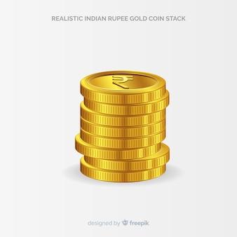 Realistischer goldmünzenstapel der indischen rupie