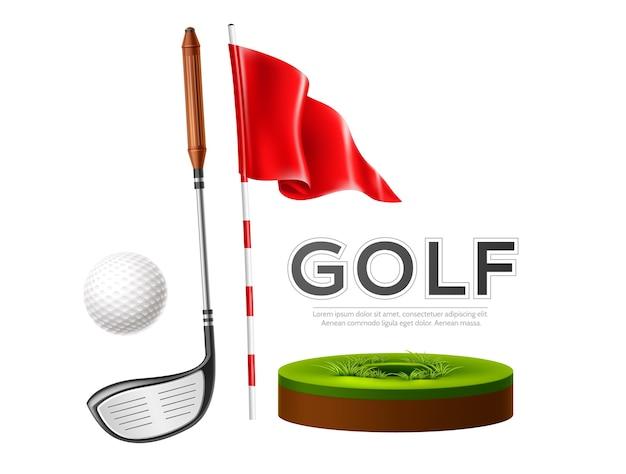 Realistischer golfschläger, flagge und golfball auf grünem gras.