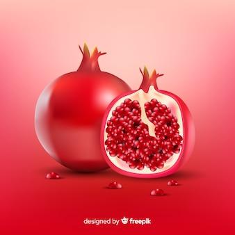 Realistischer granatapfelhintergrund
