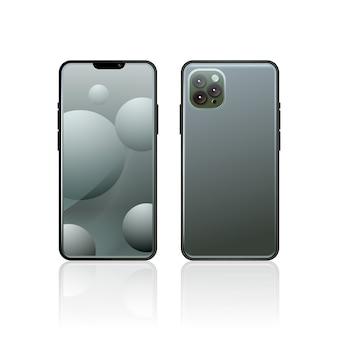 Realistischer grauer smartphone mit drei kameras