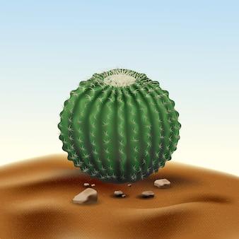 Realistischer großer runder kaktus echinocactus der wüste. anlage der wüste unter sand und felsen im lebensraum
