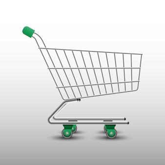Realistischer grüner einkaufswagen
