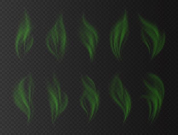Realistischer grüner rauch, schlechtes geruchskonzept, transparenter effekt. giftige stinkende wolken. grüner rauch lokalisiert auf einem dunklen hintergrund. illustration.