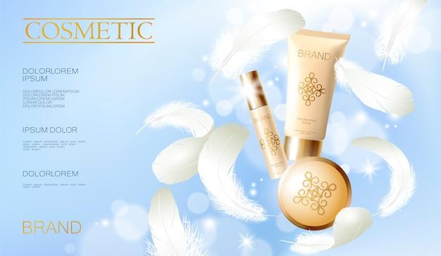 Realistischer grundierungspuder. tube spray, behälter goldene kosmetik. werbeschablone