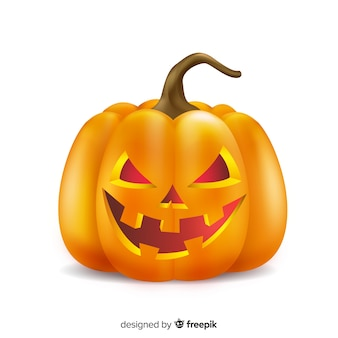 Realistischer gruseliger halloween-kürbis
