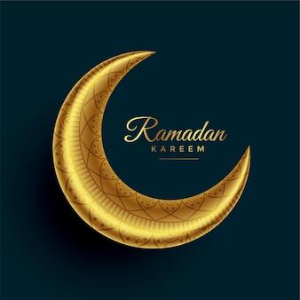 Realistischer halbmond eid goldener mond mit islamischer dekoration