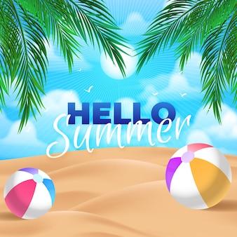 Realistischer hallo-sommer-schriftzug