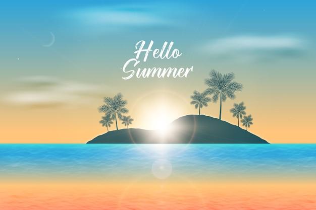 Realistischer hallo sommer und tropische landschaft