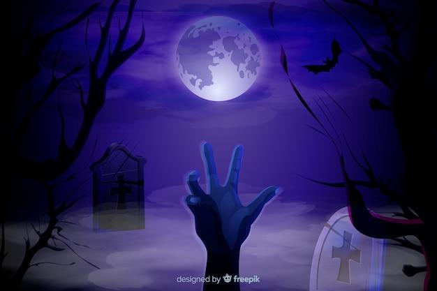 Realistischer halloween-hintergrund mit einer zombiehand