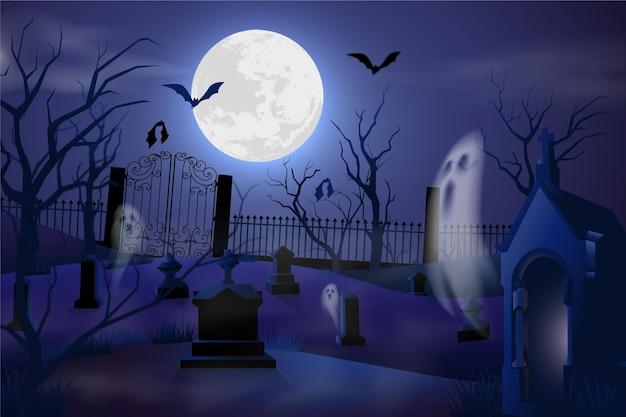 Realistischer halloween-hintergrund mit friedhof