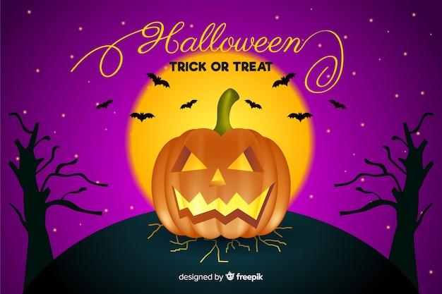 Realistischer halloween-hintergrund mit kürbis und baumasten