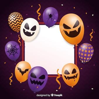 Realistischer halloween-übel steigt hintergrund im ballon auf