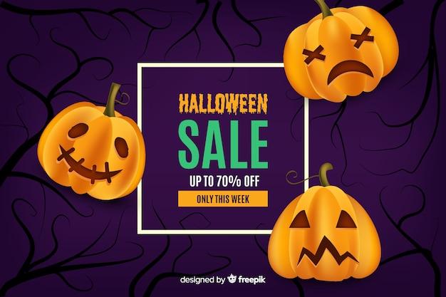Realistischer halloween-verkauf mit gebogenen kürbisen