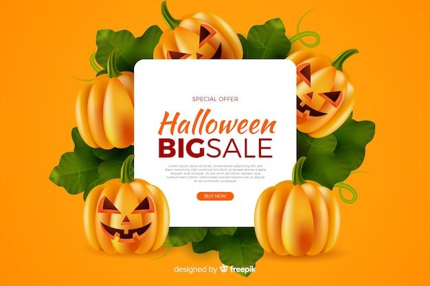 Realistischer halloween-verkauf mit kürbisen auf gelbem hintergrund