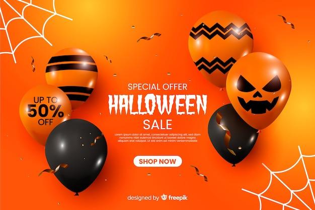 Realistischer halloween-verkaufshintergrund mit ballonen