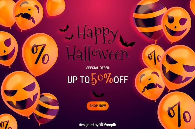 Realistischer halloween-verkaufshintergrund mit rabatt