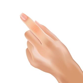 Realistischer handfrauen-zeigefinger, der note zeigt.