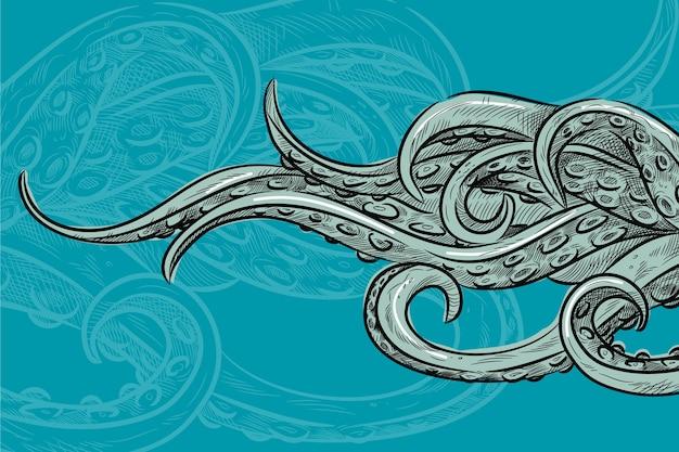 Realistischer handgezeichneter oktopus-tentakelhintergrund