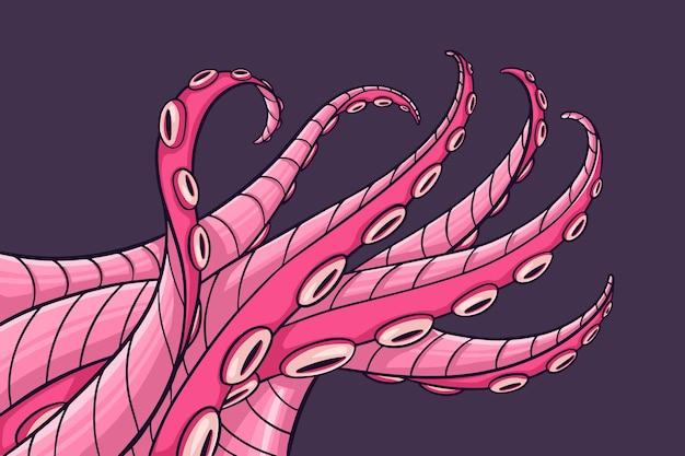 Realistischer handgezeichneter oktopushintergrund