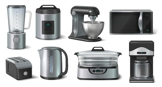Realistischer haushalt. mixer mikrowelle wasserkocher und andere küchengeräte. vector 3d-set kücheninnenausstattung für haushalter kochen isoliert auf weißem hintergrund